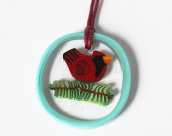 CARDINAL Murrini murrine millefiory Christmas Tree Ornament pendant