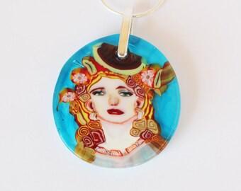 Maremade portrait pendant collector murrine slice/coin miniature glass mosaic millefiori