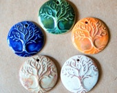 5 Handmade Ceramic Beads - Tree of Life Beads in stoneware clay - Pendant beads