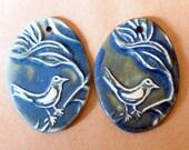 2 Stoneware Oval Bird Beads - Sweet Tweet in Rich Denim - Sale