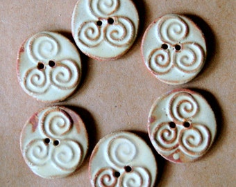 6 Handmade Stoneware Buttons - Triple Spirals - Celtic Buttons in Rustic Rust