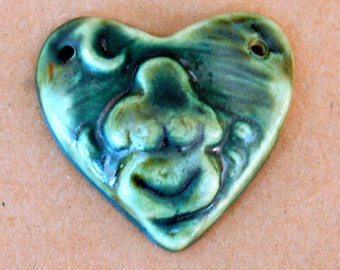 Goddess Heart in Deep Green - Blessingway bead with Earth Mother Venus