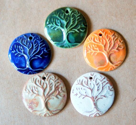 5 Handmade Ceramic Beads Tree Of Life Beads In Stoneware
