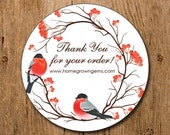 Customized Thank You For Your Order Stickers - Red Birds Tree Branches Flowers - Labels - Wedding - Birthday Party - Thank You Stickers
