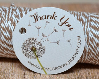 Dandelion Thank You Tags -  Hang Tag - Product Packaging - Gift Tag - Floral Flower