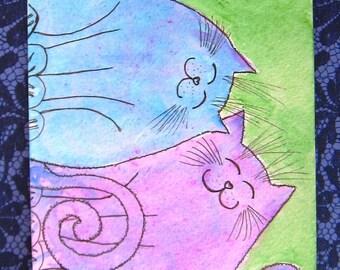 Cat friends in the Garden Watercolour Original art