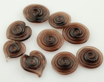 Brown Handmade Lampwork Glass Disk Bead Set