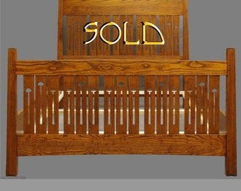Arts and Crafts, Mackintosh Queen Bed,Made of  Ash. ON SALE, REDUCED 35% One Available