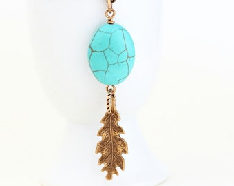 Turquoise Necklace - Turquoise and Brass - Woodland Style - Rustic - Turquoise Pendant With Brass Oak Leaf - Boho Chic Jewelry