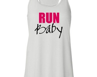 Run Baby Fitness Inspired Racerback White Women's Tank Top Tshirt Free Shipping