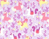 Michael Miller Fabrics, Unicorn Frolic in Opal lavendar, 1 yard