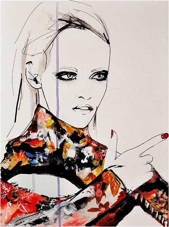 Nouveau - Fashion Illustration Art Print, Portrait, Woman, Mix Media Painting by Leigh Viner