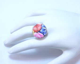 Snap Button Adjustable Ring with Handmade Colorful Millefiori Button with FREE extra Button of Your Choice