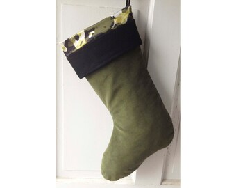 Large Green Camo Christmas Stocking - Modern Camoflague Holiday Decor Ready to Ship