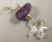 Lavender Sea Glass Necklace Sea Glass Jewelry N-316