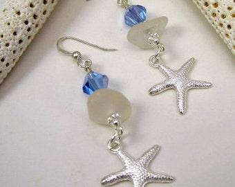 Sea Glass Earrings Sterling Silver Sea Glass Earrings Sea Glass Jewelry E-112