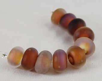 10 Earth Glow Seaglass Lampwork Beads Organic Brown Pink , handmade glass beads, lampwork beads by Beadfairy Lampwork, SRA
