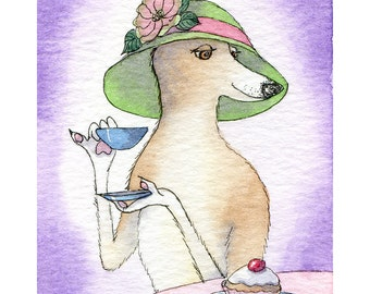 Whippet Greyhound dog 8x10 print drinking afternoon tea wearing a hat eating cake with extended little claw
