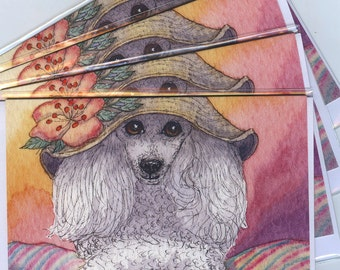 4 x white poodle dog greeting cards - that Mona Lisa smile toy poodle in a hat