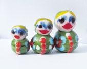 Handmade Lampwork Glass Set of Matryoshka Doll Beads SRA
