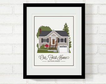 Home Illustration New House Illustration Gift for New Homeowners Gift for Mom Grandma's House First Home Closing Gift Childhood Home Realtor