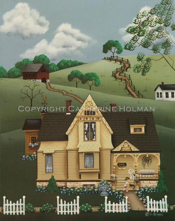 Folk Art Print Fairhill Farm