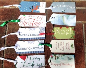 Lot 10 Christmas Words Gift Tags