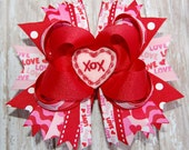 Large Layered Boutique XOXO Valentine Bow