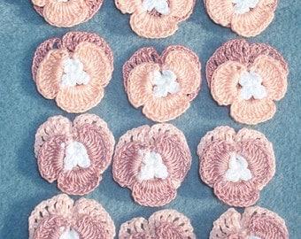 12 handmade cotton crochet applique pansies flowers --  393
