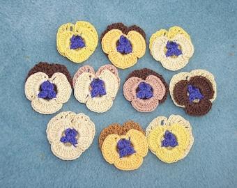 10 handmade cotton thread crochet applique pansies  --  664