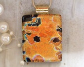 Dichroic Glass Pendant, Fused Glass Jewelry, Necklace, Golden Copper, Necklace Included
