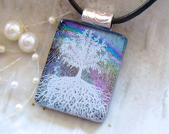 Tree of Life, Dichroic Fused Glass Pendant, Glass Jewelry, Enamel, Necklace Included, A2