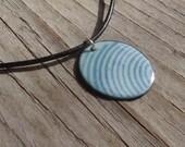 Handmade Copper Enamel Curved Stripe Necklace, Enamel on Copper Sound Waves Pattern Necklace, Blue on Blue, Robins Egg Blue, Dusty Blue