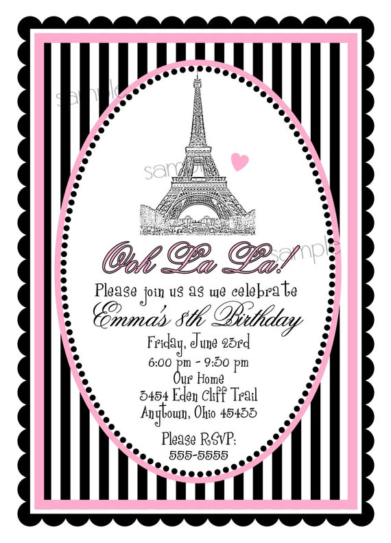 french birthday invitations eiffel tower invitations french invitations french birthday party. Black Bedroom Furniture Sets. Home Design Ideas