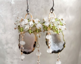 SALE - 30% Off - Olive Tabasco Geode Prehnite Chalcedony Vesuvianite Wire Wrapped Dangle Earrings Mixed Metal