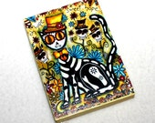 Art Print Wood Block, Day of the Dead Mexican Cat Art Print, ACEO ATC Artist Trading Card, Wooden Whimsical Art, Small Art, Green Black