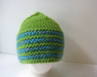 green knitted hat wool knit cap lime green and turquoise knit hat