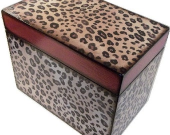 Recipe Box, Decoupage Wood Recipe Box, Handcrafted, Holds 4x6 cards, Cheetah Decor, Recipe Organizer, Storage Box, Trinket, MADE TO ORDER