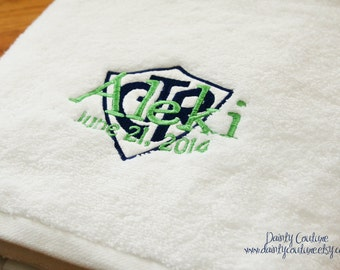 CTR Baptism Towel - Navy and Green - LDS gift - Personalized Towel - 8 is Great - Eight is Great