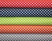 Fabric, Riley Blake Fabric, Small Dots, Polka Dots, Red, Navy, Lime, Orange, Gray Dots, Designer Fabric, 5 Fat Quarters