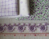 Fabric medley and beaded lace, purple/Lilac colors