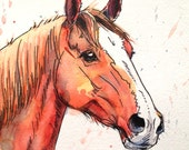 Bright Chestnut - original horse art - watercolor and ink panting drawing in red, blue, orange, yellow