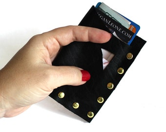 Leather Studded Wallet / Business Card Holder