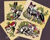 Day of the Dead POSTCARDS Skeleton Woodland Animals - Deer, Fox, Rabbit, Bear - Set of 4 Designs