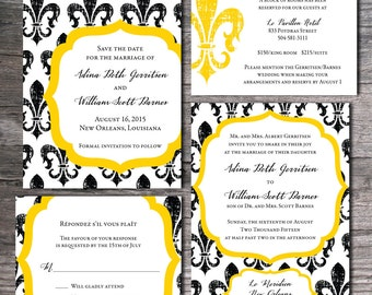 New Orleans Fleur de Lis/Lys Themed Wedding Invitation Set - Invite, Save the Date, Response/RSVP Card, Information/Info Card