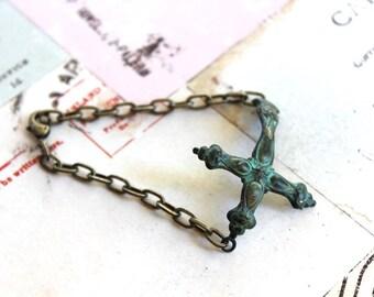 cross cuff. bracelet. chain style brass ox and patina jewelry