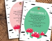 Woodland Theme Birthday Party Invitation on Birch with Acorn and Mushrooms (printable - 4 color options)