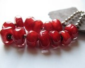 ruby red pearls - tiny nuggets with hand shaped facets  Handmade Glass Bead Set  Ellen Dooley  SRA (13)
