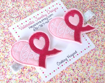 Hair Clip Hope for a cure no slip breast cancer pink awareness ribbon heart clippie ONE CLIP