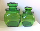 Vintage Apothecary Jars - Set of two 2 - Green Glass